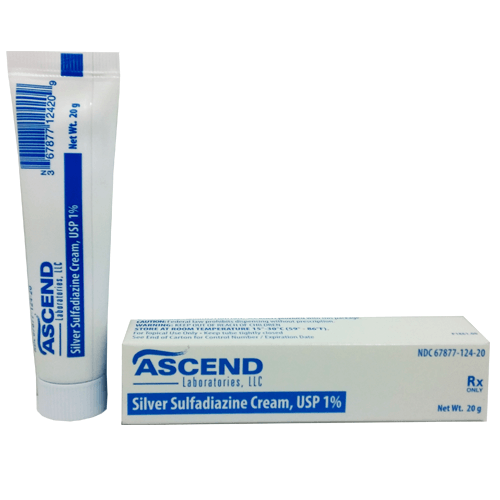 Ascend Silver Sulfadiazine Cream 1% 20 Gram Tube - Silver Sulfadiazine Cream - Mountainside Medical Equipment