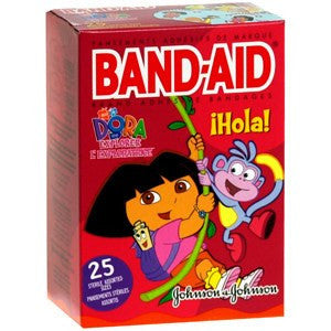 Band-Aid Dora The Explorer Adhesive Bandages - 25 Count for Adhesive Bandages by Johnson & Johnson | Medical Supplies