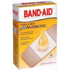Buy Band-Aid Plus Antibiotic X-Large - 8 Count by Johnson & Johnson | SDVOSB - Mountainside Medical Equipment