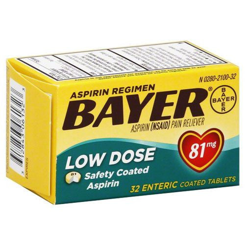 Buy Bayer Aspirin Low-Dose 81mg (Baby Aspirin), Safety Enteric Coated online used to treat Pain Relievers - Medical Conditions