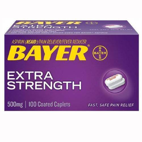 Bayer Extra Strength Aspirin 500mg Coated Caplets, 100/Bottle