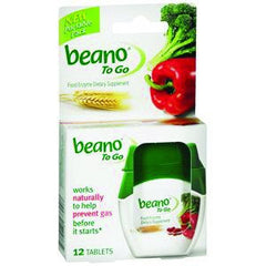 Beano to Go Gas Relief Supplement 12/Tablets for Gas and Bloating Relief by Prestige Brands | Medical Supplies