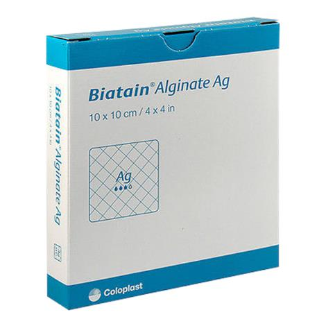 Biatain Alginate AG Dressing with Silver 4 x 4 (10 Dressings) - Calcium Alginate Dressings - Mountainside Medical Equipment