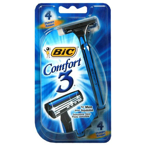 BIC Comfort 3 Razor for Men, 4 Pack for Razors by BIC | Medical Supplies