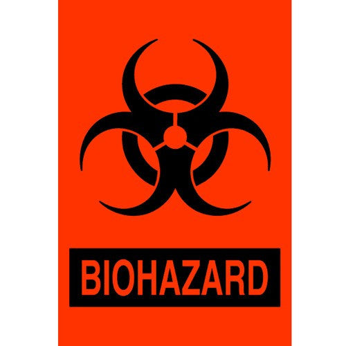 Biohazard Infection Control Red Adhesive Labels 500/Roll