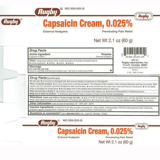 Capsaicin Cream Pain Relief Cream 0.025%, 60 grams - Muscle Pain Relief - Mountainside Medical Equipment