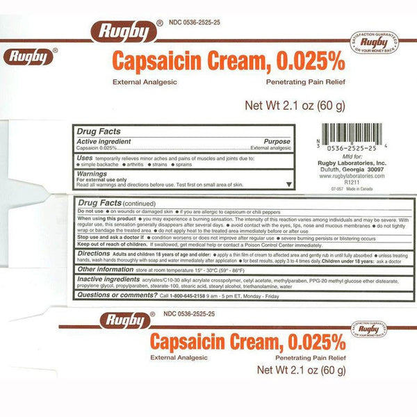 Capsaicin Cream Rugby 0.025%, Topical Analgesic Pain Relief Cream