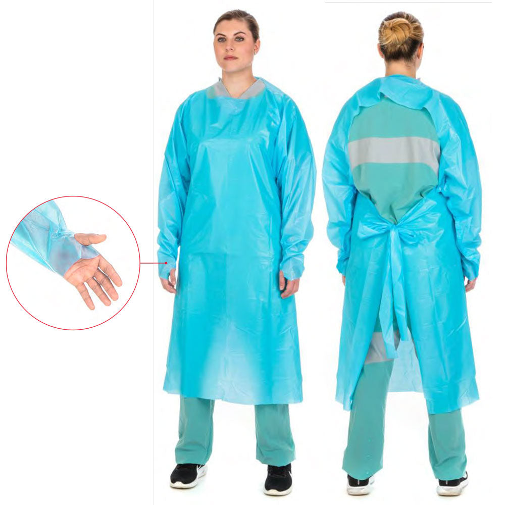 Premium Over-The-Head Plastic Film Gown, Universal Size (1 Gown) - Isolation Gowns - Mountainside Medical Equipment