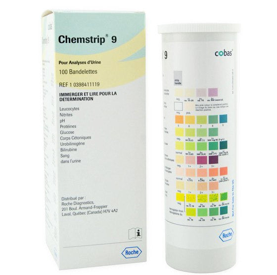 Chemstrip 9 Urine Test Strips, 100/bx
