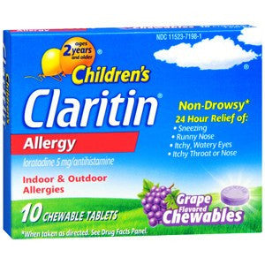 Children's Claritin 24 Hour Allergy Relief Grape Chewable Tablets 10ct - Allergy Relief - Mountainside Medical Equipment