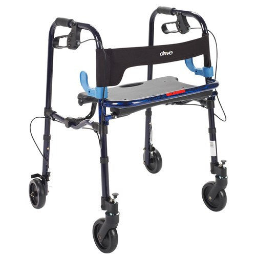 Clever Lite Walker with Seat and Loop Locking Brakes for Rollators and Walkers by Drive Medical | Medical Supplies