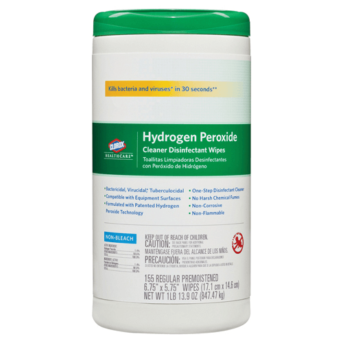 Clorox Healthcare Hydrogen Peroxide Disinfectant Wipes 155 Count, 6/Case