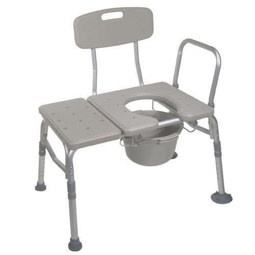 Combination Transfer Bench with Commode Attached
