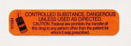 Controlled Substance Pharmacy Label For Medication