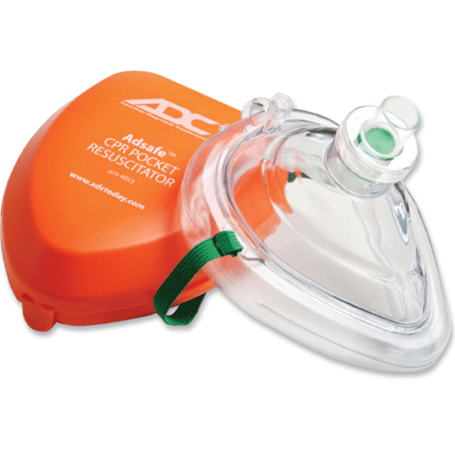 CPR Pocket Resuscitation Mask with 1 Way Valve, Orange Case (Fits Adult & Pediatric Patents) - CPR Mask - Mountainside Medical Equipment