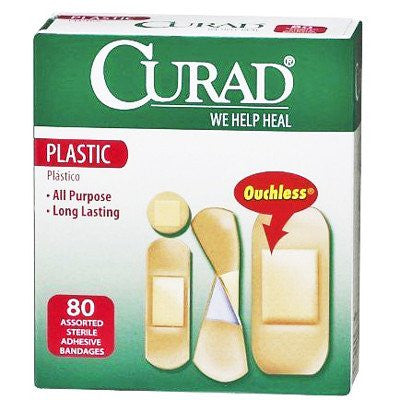 Curad Plastic Adhesive Bandages, Ouchless, Assorted 80/Box