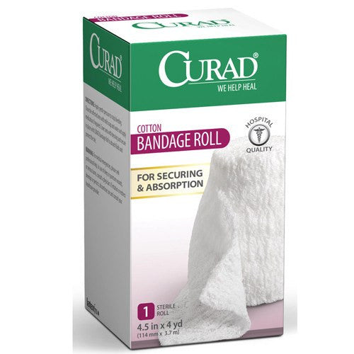 Curad Cotton Stretchable Bandage Roll, Sterile 4.5 inchs x 4 Yards - Roll Bandage - Mountainside Medical Equipment
