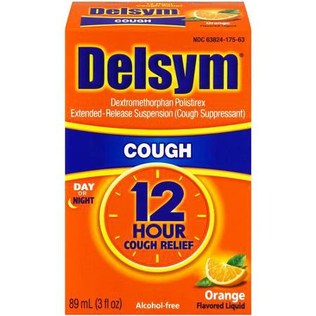 Delsym Adult 12-Hour Cough Relief Cold Suppressant, Orange