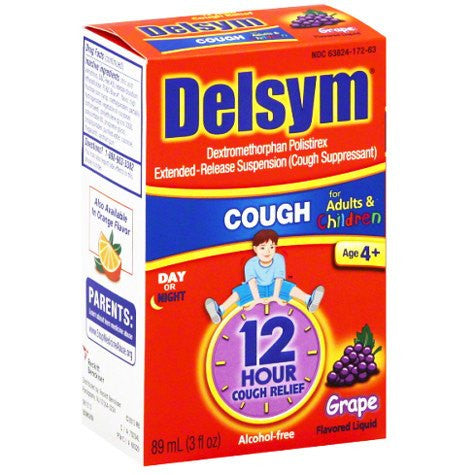 Buy Delsym Children's 12-Hour Cough Relief Medicine, Grape Flavor online used to treat Cold and Flu - Medical Conditions