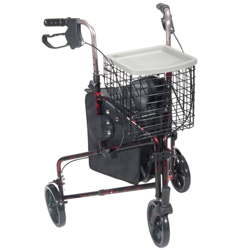 Deluxe Three Wheel Aluminum Rollator with Basket - Rollators and Walkers - Mountainside Medical Equipment