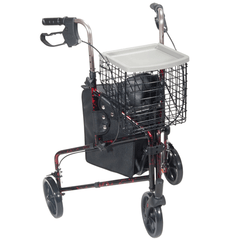 Buy Deluxe Three Wheel Aluminum Rollator with Basket by Drive Medical wholesale bulk | Rollators and Walkers