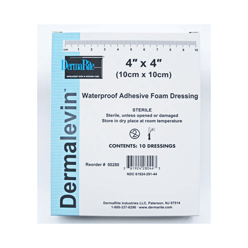 Dermalevin Adhesive 6 x 6 Foam Dressings 10/Box