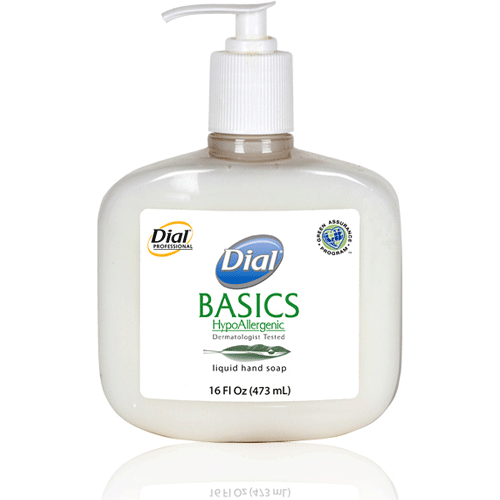 Buy Dial Basics Hypoallergenic Liquid Soap, 16 oz Pump, 12/Case online used to treat Hand Soaps - Medical Conditions