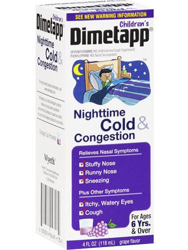 Buy Childrens Dimetapp Nighttime Cold and Congestion 4 oz by Wyeth Pfizer online | Mountainside Medical Equipment