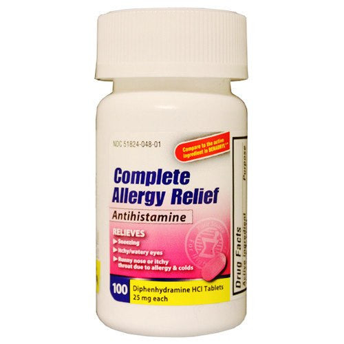 Diphenhydramine HCI 25mg Allergy Relief Antihistamine 100 Caplets - Allergy Relief - Mountainside Medical Equipment