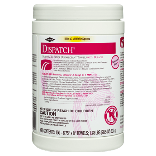 Dispatch Hospital Cleaner Disinfectant Towels with Bleach 150 Count, 8/Case