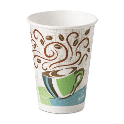 Dixie PerfecTouch Paper Hot Cups 12 oz, Cafe Design, 500/Case - Dining Aids - Mountainside Medical Equipment