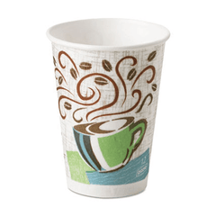 Dixie PerfecTouch Paper Hot Cups 12 oz, Cafe Design, 500/Case for Dining Aids by n/a | Medical Supplies