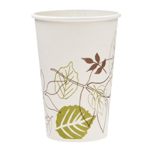 Dixie Pathways Paper Hot Cups 8 oz Leaf Design, 1,000/Case
