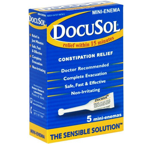 Docusol Mini Enema for Constipation Relief 5-Pack for Laxatives by Alliance Labs | Medical Supplies