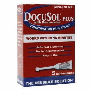 Docusol Plus Mini Enema with Benzocaine for Constipation Relief
