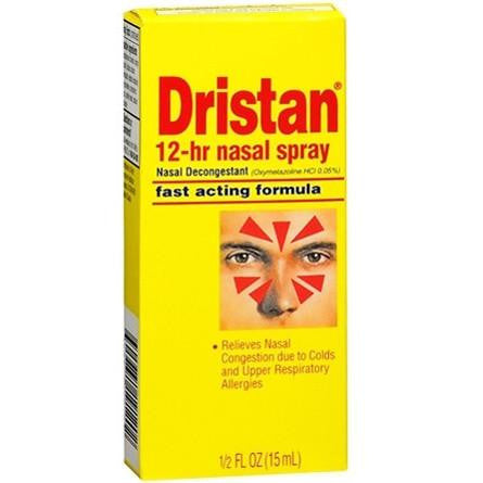 Dristan 12-Hour Nasal Decongestant Relef Spray, 0.5 oz for Allergies by Wyeth Pfizer | Medical Supplies