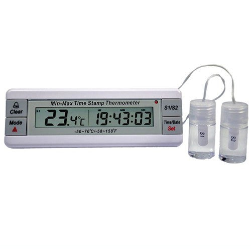 Dual Vaccine Freezer & Refrigerator Thermometer with 2-Yr Certificate