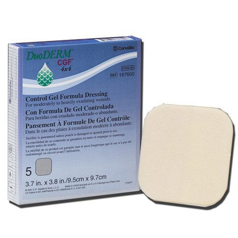 5-Pack Duoderm CGF 4 x 4 Dressings - Hydrocolloid Wound Care Dressing - Mountainside Medical Equipment