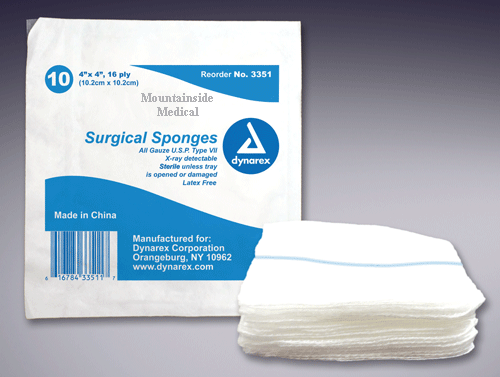 X-Ray Detectable Gauze Sponges Sterile 4 x 4, 16 ply - X-Ray Detectable Gauze - Mountainside Medical Equipment
