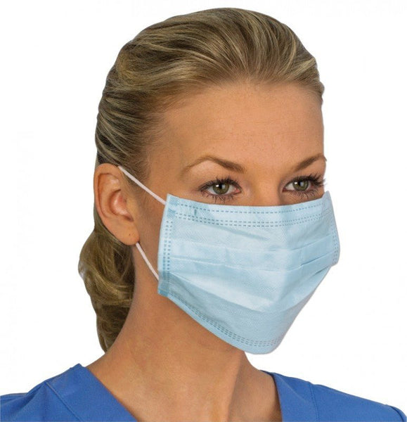 Dynarex Surgical Face Masks with Ties, Blue 50/Box