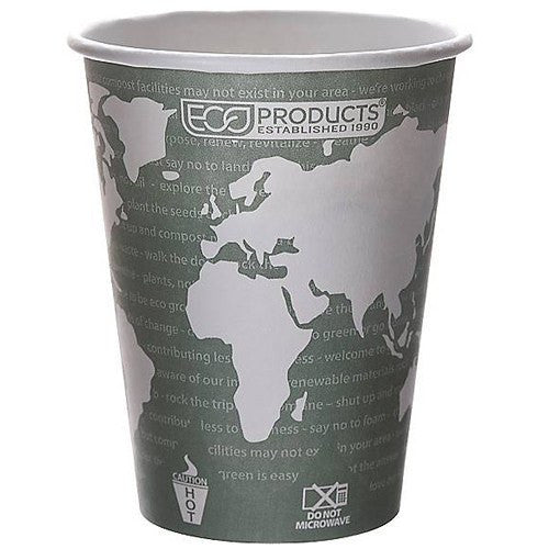 Eco-Products World Art Design 12 oz Paper Hot Cups, 1000/Case