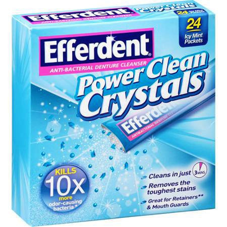 Efferdent Power Clean Crystals Anti-Bacterial Denture Cleaner Packets for Denture Care by MedTech | Medical Supplies