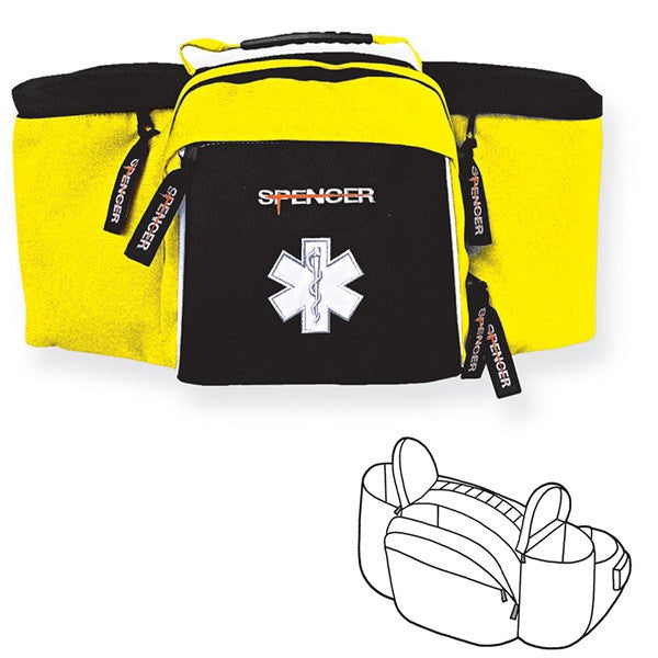 Emergency Back Waist Bag, Black & Yellow