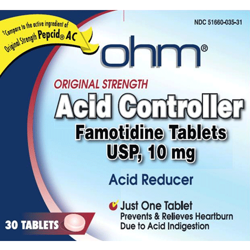 Buy Famotidine 10mg Heartburn Relief Tablets 30/Box by Ohm Laboratories | Heartburn