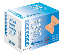 Buy Fingertip Adhesive Bandaids Flexible Fabric 1.75 x 3  100/bx by Dynarex from a SDVOSB | Adhesive Bandages
