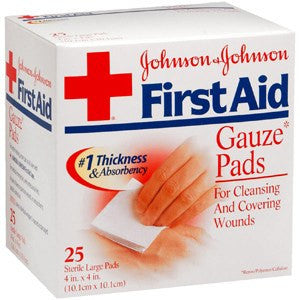 First Aid Gauze Pads 4 x4 Large 25/Box