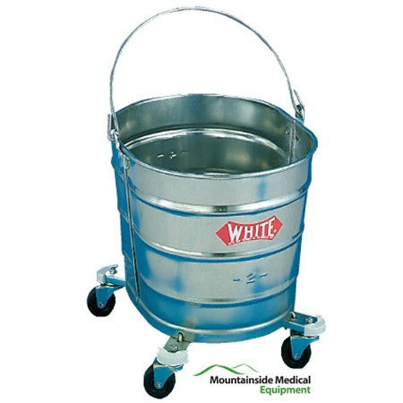 Galvanized Steel Mop Bucket on Wheels, 26 Quart