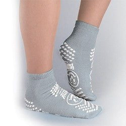 Adult Non-Skid Patient Socks, Double-Sided Grip, Gray