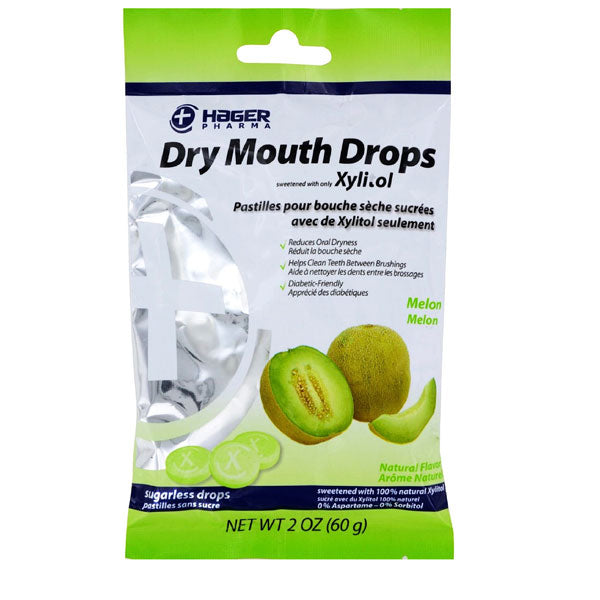 Buy Hager Dry Mouth Drops Sweetened with All Natural Xylitol, Melon Flavor online used to treat Dry Mouth Relief Lozenges - Medical Conditions