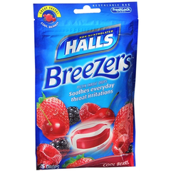 Halls Breezers Throat Drops with Cool Berry Flavor, 25/Bag for Coughs by Halls | Medical Supplies